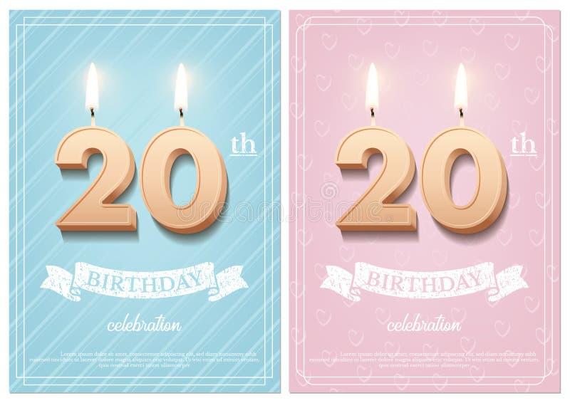 Numéro brûlant 20 bougies d'anniversaire avec le ruban de cru et le texte de célébration d'anniversaire sur bleu et rose texturis illustration de vecteur