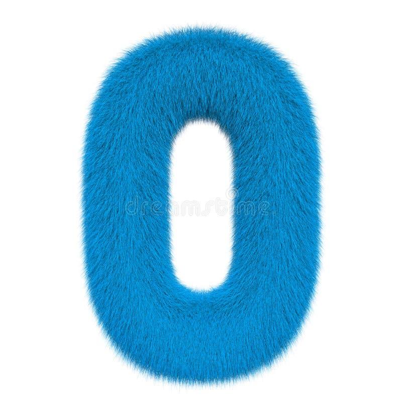 Numéro coloré, pelucheux, velu 0 rendu 3d illustration de vecteur