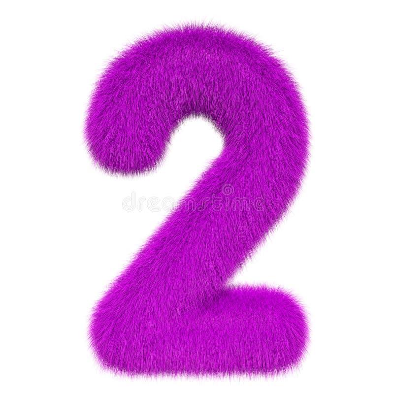 Numéro coloré, pelucheux, velu 2 rendu 3d illustration libre de droits