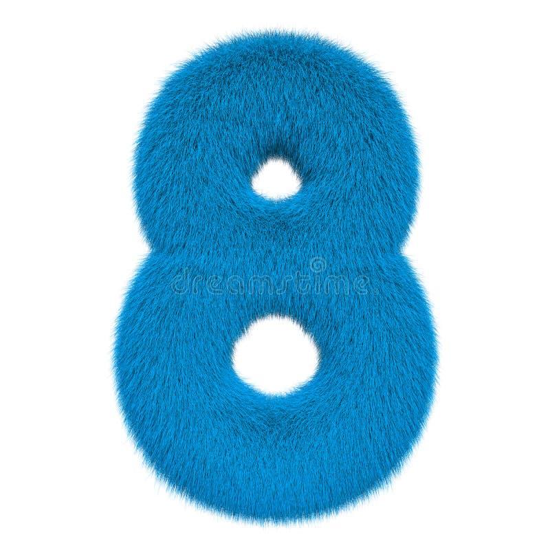 Numéro coloré, pelucheux, velu 8 rendu 3d illustration de vecteur
