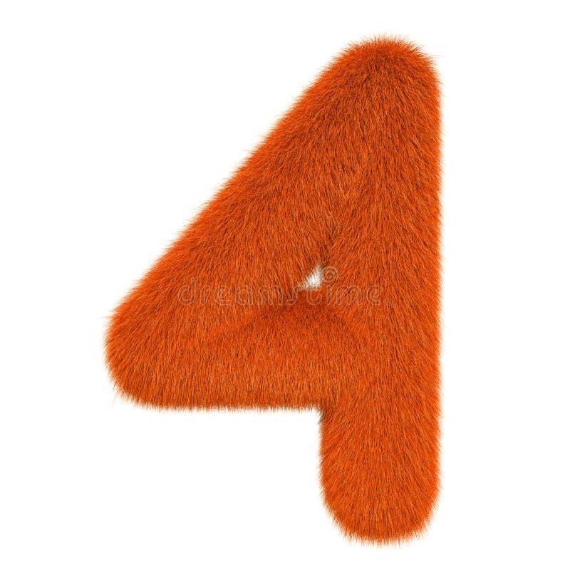 Numéro coloré, pelucheux, velu 4 rendu 3d illustration libre de droits