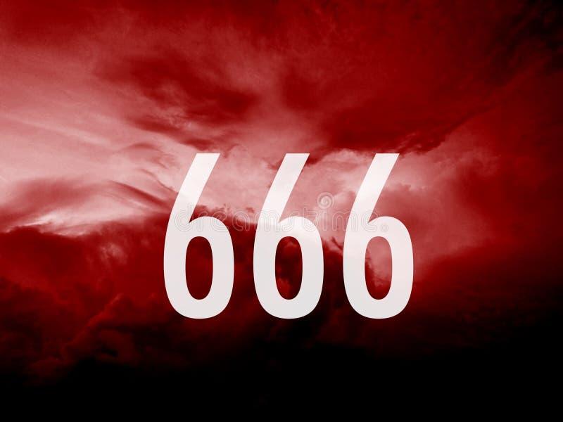 Numéro 666 comme signe d'antichriste illustration libre de droits