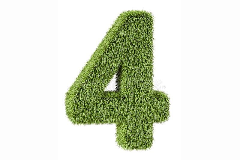 Numéro 4 d'herbe, rendu 3D illustration de vecteur