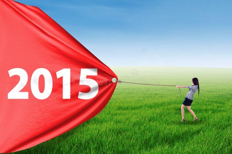 Numéro de déplacement 2015 d'entrepreneur dans le pré photos stock
