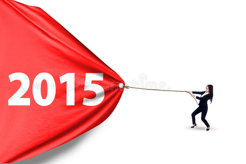 Numéro de déplacement 2015 de femme dans le studio images stock