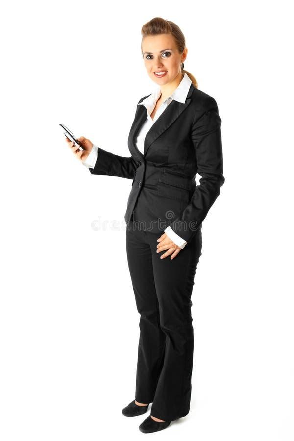 Numéro de téléphone moderne de composition de femme d'affaires photos stock