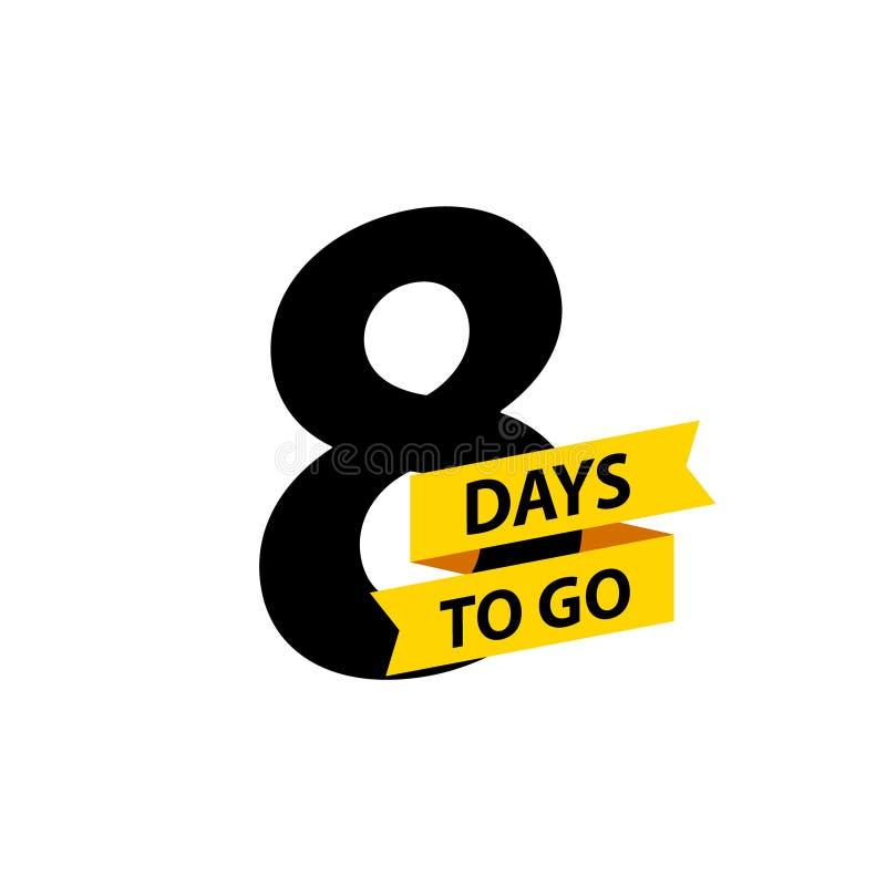 Numéro 8 des jours à aller Vente d'insignes de collection, page de d?barquement, banni?re Illustration de vecteur illustration stock