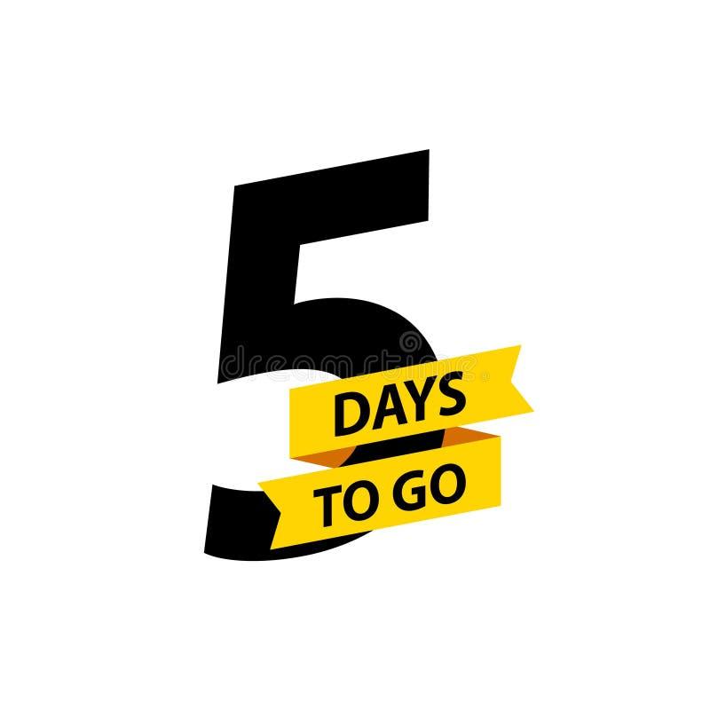Numéro 5 des jours à aller Vente d'insignes de collection, page de d?barquement, banni?re Illustration de vecteur illustration libre de droits
