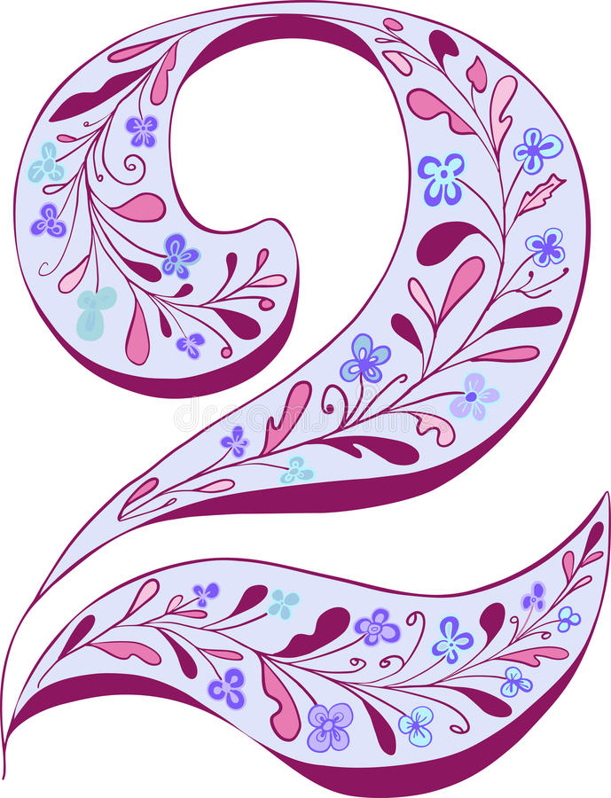 Numéro deux avec la décoration florale photographie stock