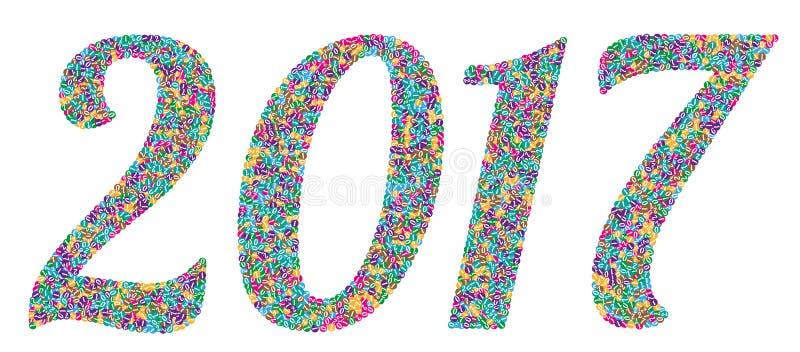 Numéro 2017 deux mille dix-sept illustration libre de droits