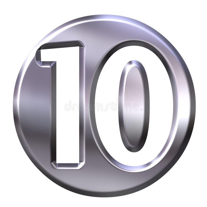 Numéro encadré 10 d'argent illustration de vecteur