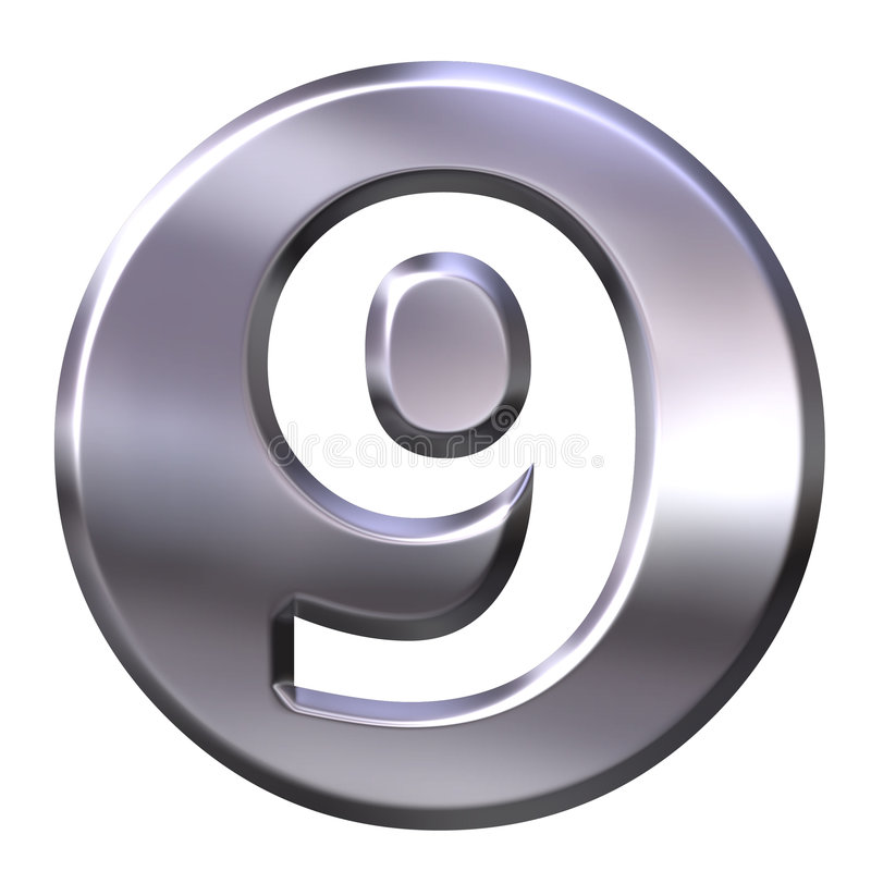 Numéro encadré 9 d'argent illustration libre de droits