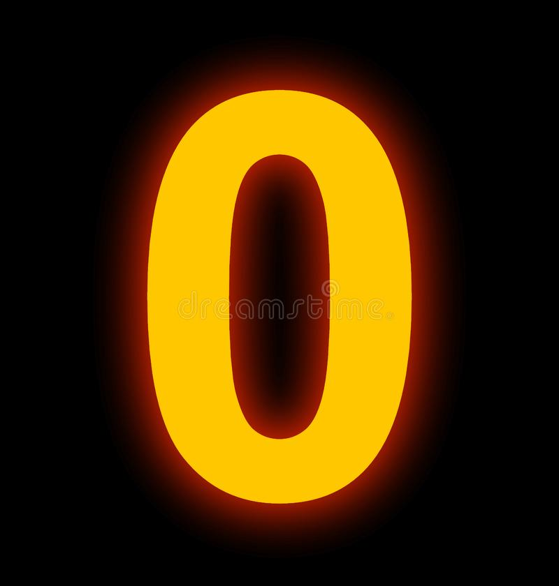 Numéro 0 lampes au néon complètement d'isolement sur le noir illustration stock
