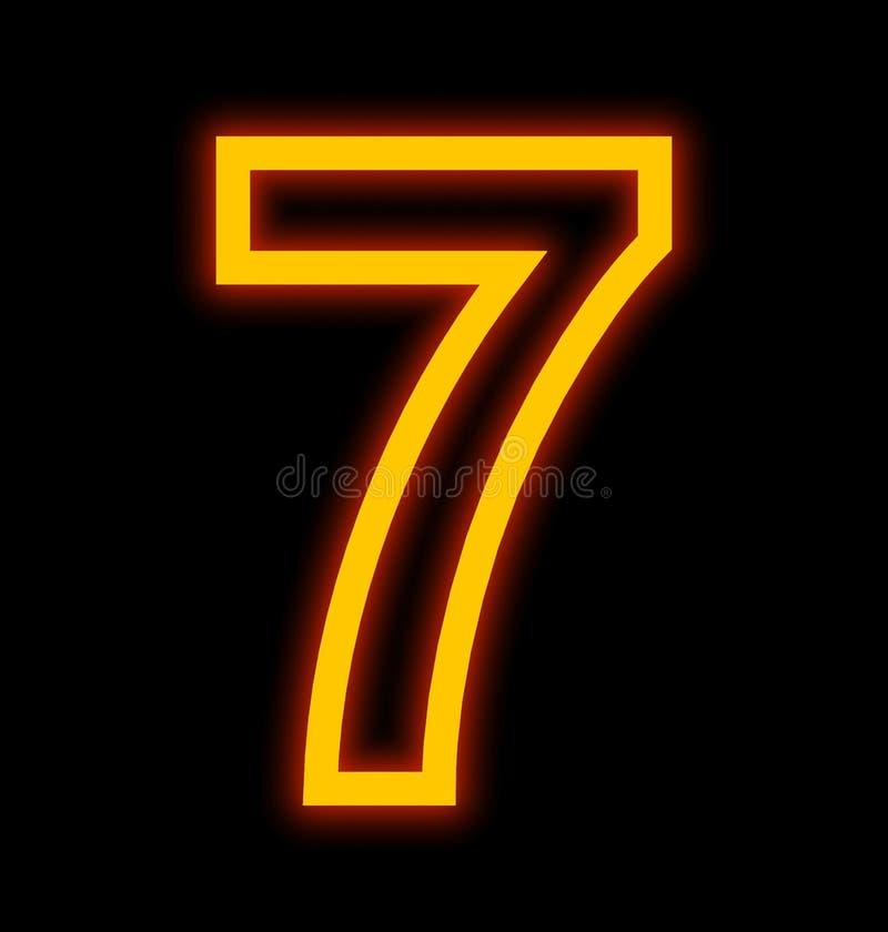 Numéro 7 lampes au néon décrites d'isolement sur le noir illustration stock