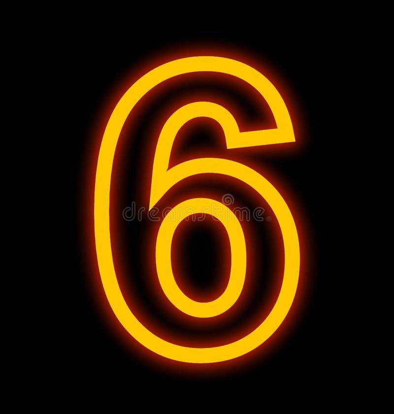 Numéro 6 lampes au néon décrites d'isolement sur le noir illustration libre de droits
