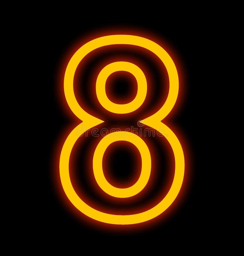 Numéro 8 lampes au néon décrites d'isolement sur le noir illustration de vecteur