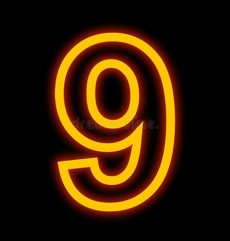 Numéro 9 lampes au néon décrites d'isolement sur le noir illustration libre de droits