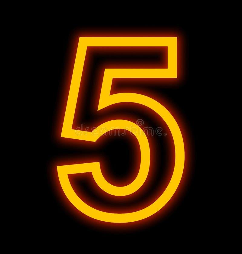 Numéro 5 lampes au néon décrites d'isolement sur le noir illustration stock
