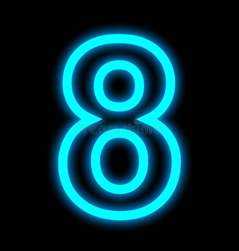 Numéro 8 lampes au néon décrites d'isolement sur le noir illustration stock
