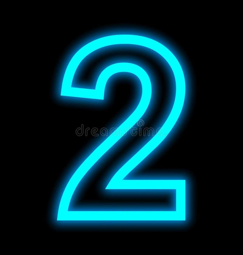 Numéro 2 lampes au néon décrites d'isolement sur le noir illustration de vecteur