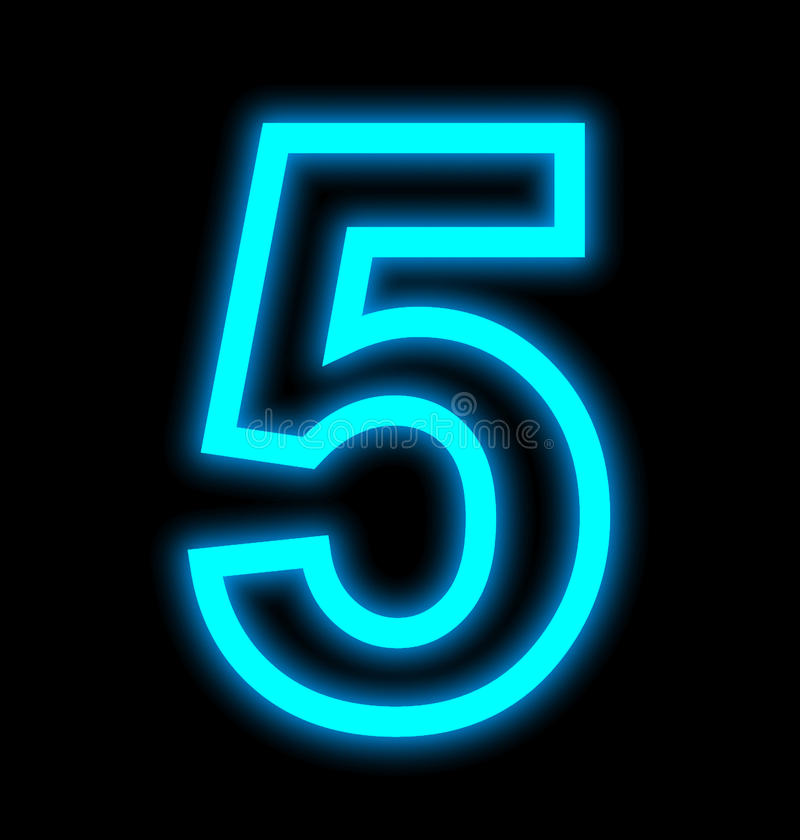 Numéro 5 lampes au néon décrites d'isolement sur le noir illustration libre de droits