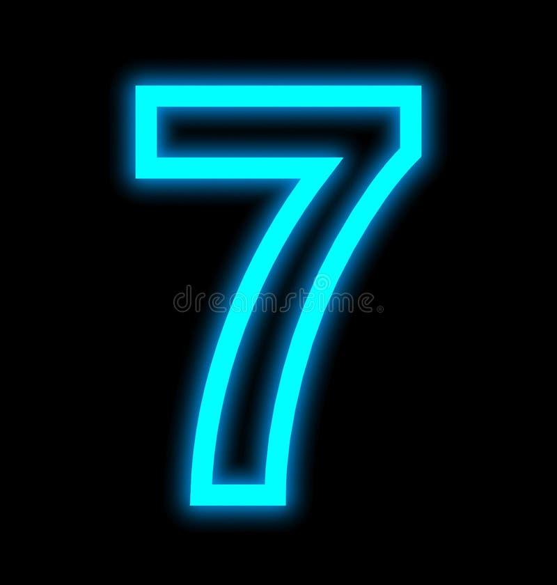 Numéro 7 lampes au néon décrites d'isolement sur le noir illustration libre de droits