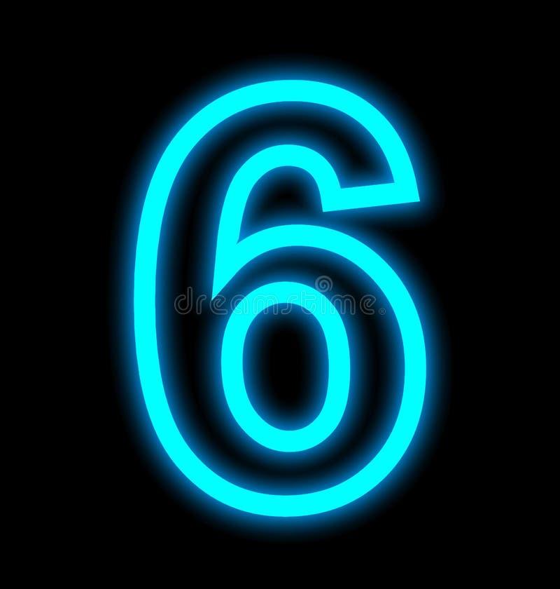 Numéro 6 lampes au néon décrites d'isolement sur le noir illustration de vecteur