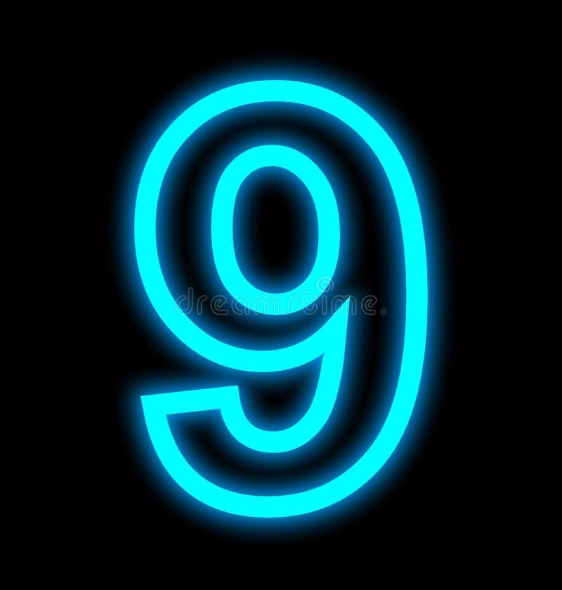 Numéro 9 lampes au néon décrites d'isolement sur le noir illustration de vecteur
