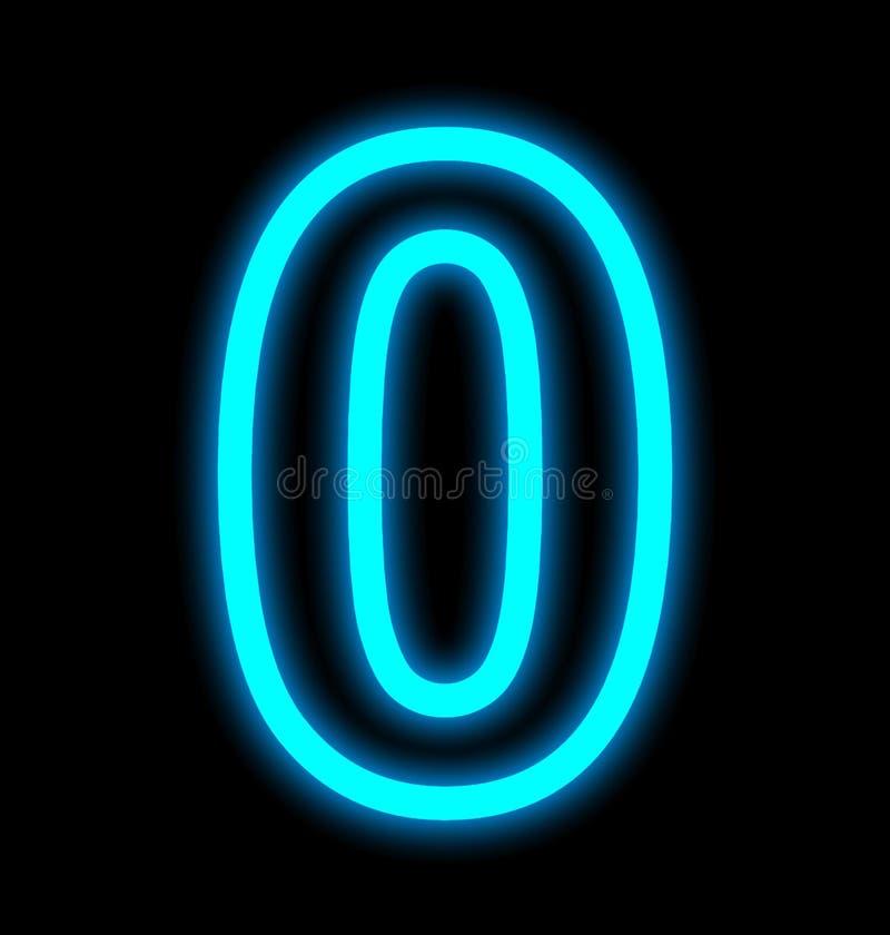 Numéro 0 les lampes au néon décrites d'isolement sur le noir illustration de vecteur