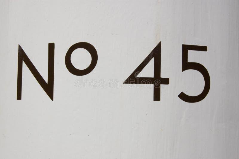 Numéro quarante-cinq image libre de droits