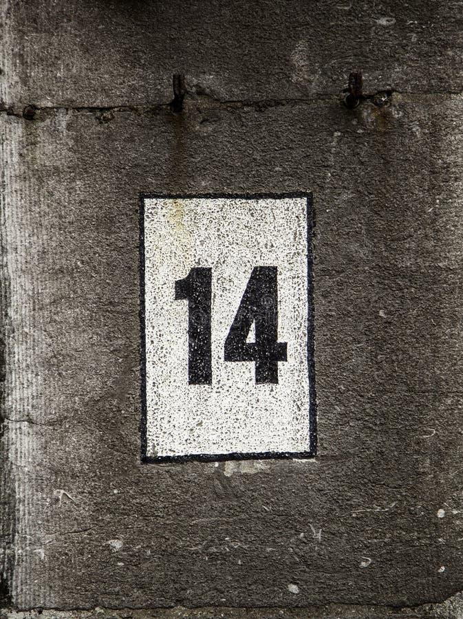Numéro quatorze d'information images libres de droits