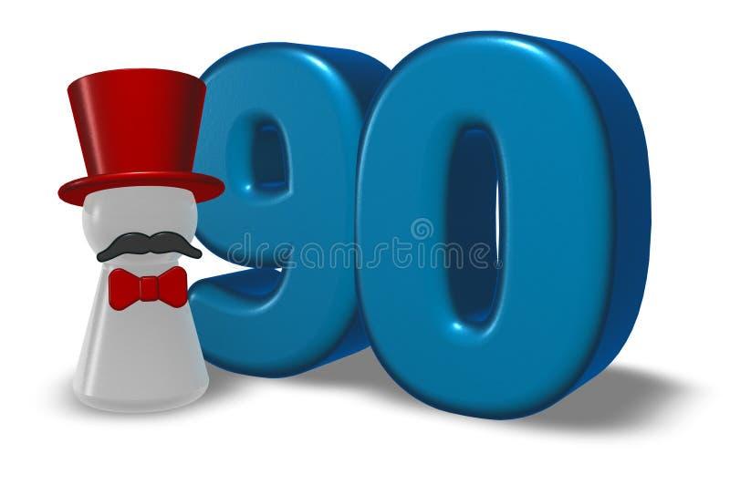 Numéro quatre-vingt-dix et gage avec le chapeau et la barbe illustration libre de droits