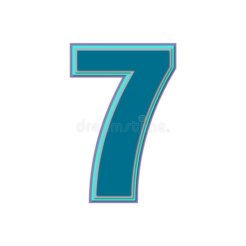 Numéro sept avec les couleurs colorées et l'ombre molle Vecteur illustration stock
