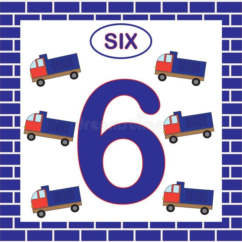 Numéro 6 six, carte Étude des nombres avec le transport, camion à benne basculante Jeu éducatif pour des enfants illustration stock