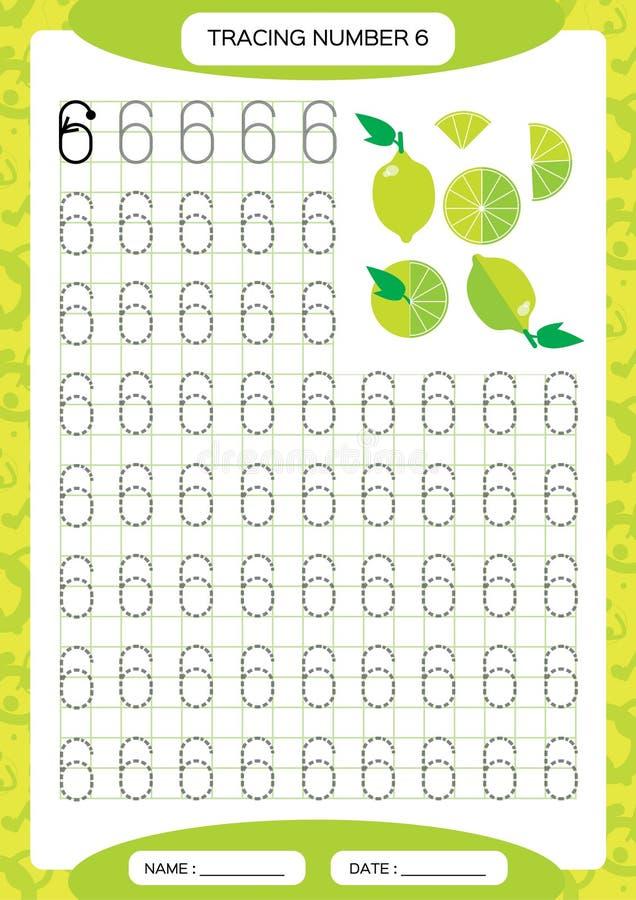 Numéro 6 Six fiches de travail de découverte pour des enfants Chaux juteuse verte Fiche de travail préscolaire, habiletés motrice illustration libre de droits