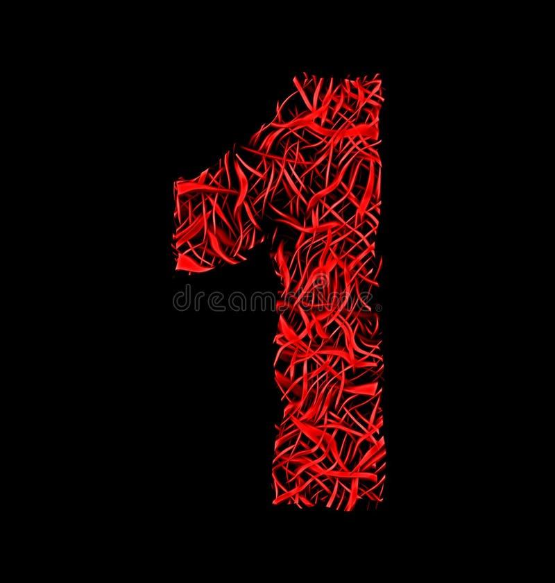 Numéro 1 style artistique rouge de maille de fibre d'isolement sur le noir illustration stock
