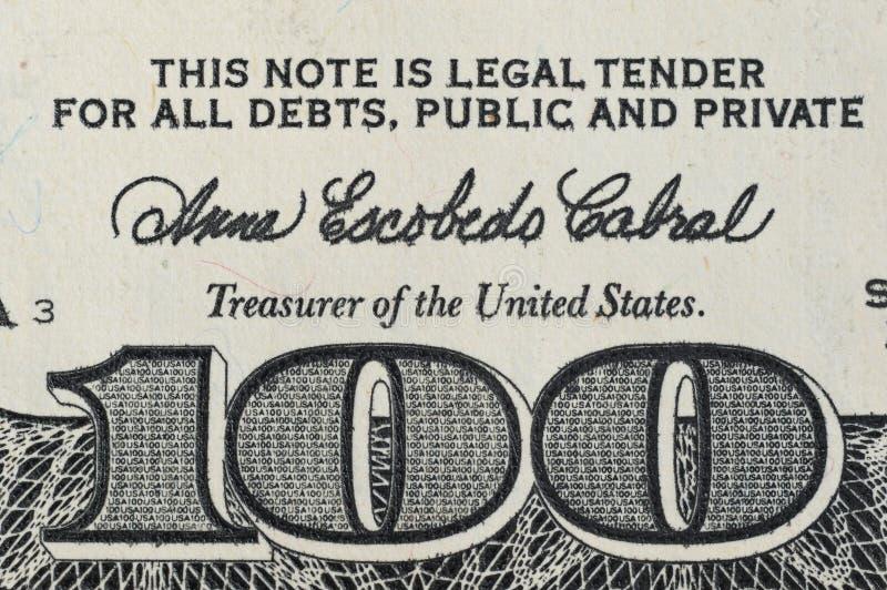 Numéro 100 sur le billet de banque cent dollars photo libre de droits