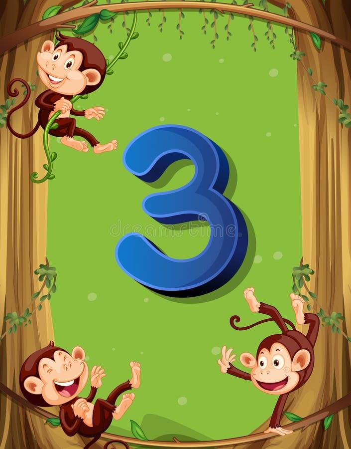 Numéro trois avec 3 singes sur l'arbre illustration de vecteur