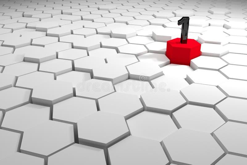 Numéro un sur différents hexagones élevés rouges, concept abstrait de gagnant, concept de chef, fond du rendu 3d, l'espace de cop illustration libre de droits