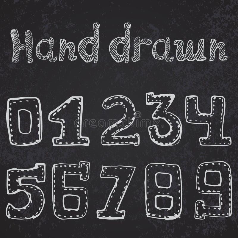 Numéros écrits 0-9 croquis tiré par la main sur le tableau illustration stock