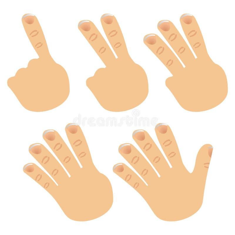 Numéros avec des doigts illustration stock