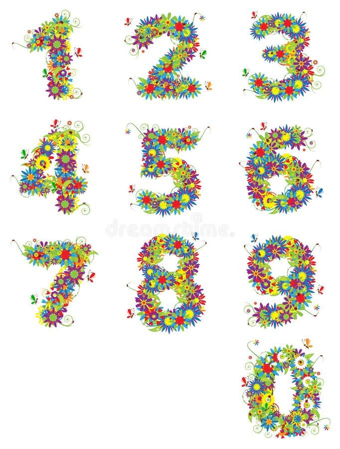 Numéros, conception florale. illustration de vecteur