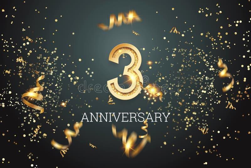Numéros d'or, célébration de 3 ans sur fond sombre et confettis modèle de célébration, prospectus Illustration 3D, 3D illustration stock