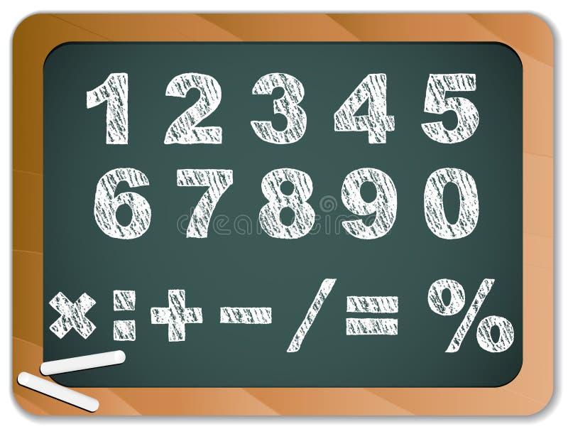 Numéros de craie sur Chakboard illustration stock