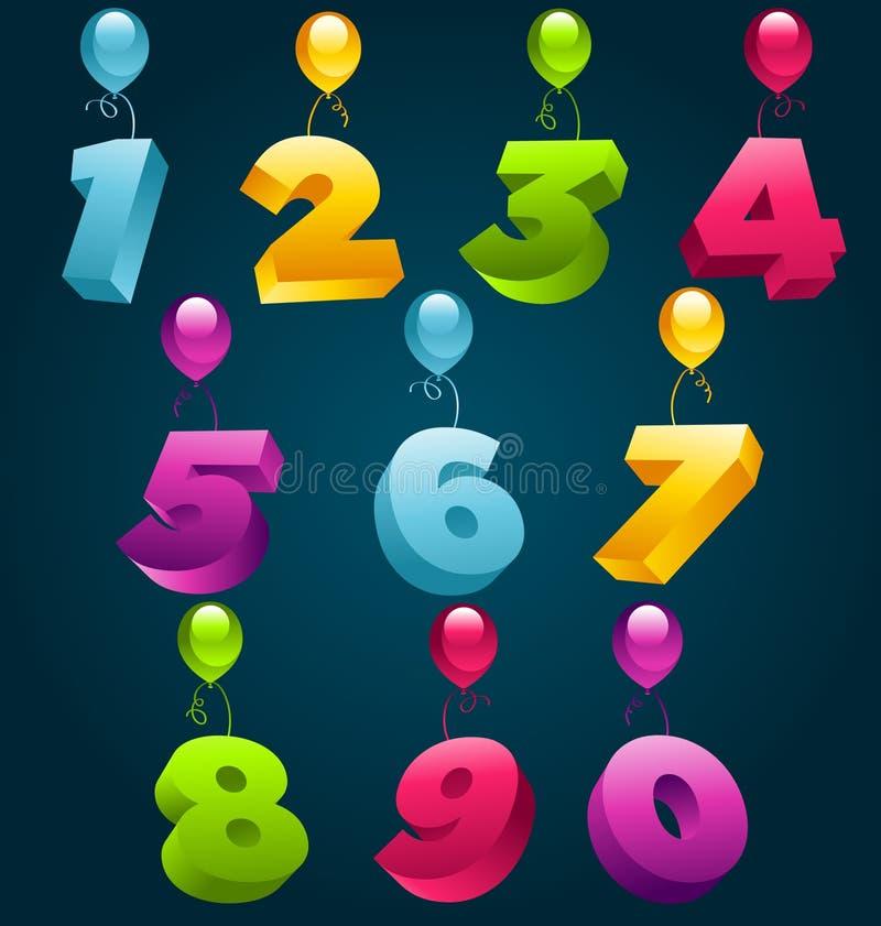 numéros de réception du joyeux anniversaire 3D illustration libre de droits