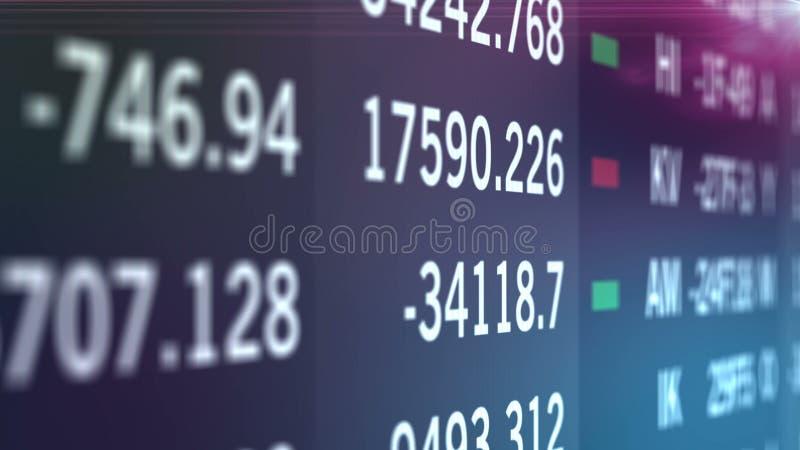 Numéros financiers des stocks sur écran, mur d'indices et information sur le marché illustration stock