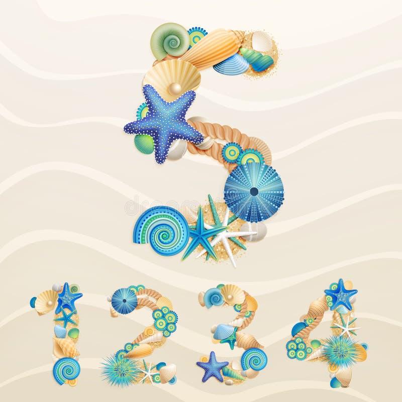 Numéros, fonte de durée de mer de vecteur sur le fond de sable. illustration stock