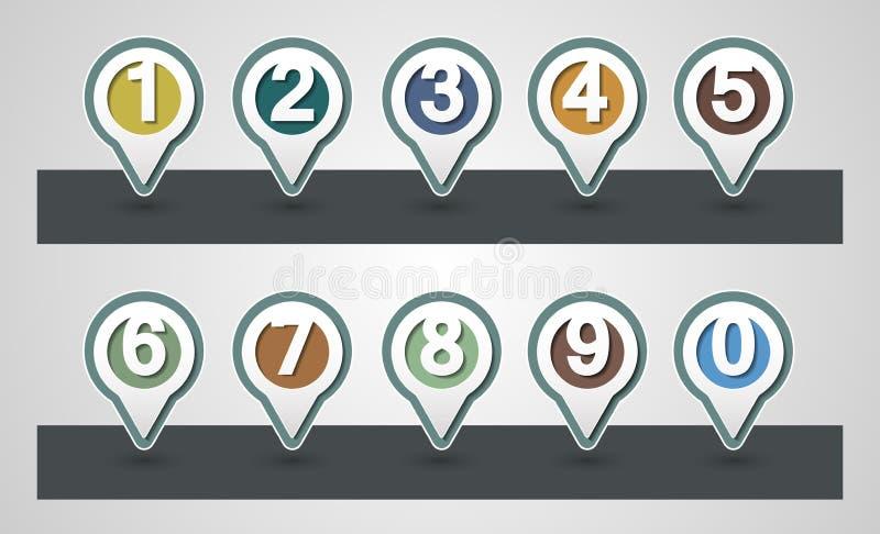 numéros réglés Conception traçant des goupilles illustration de vecteur