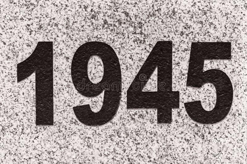 Numéros 1945 sur une dalle de marbre images stock