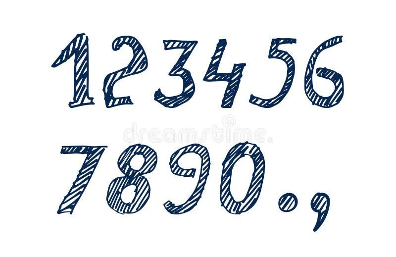 Download Numéros tirés par la main illustration de vecteur. Illustration du symbole - 77156879